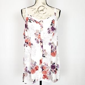 Torrid White Floral Button Up Tank - 2X